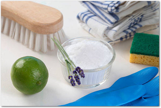 重曹とレモン、掃除用手袋